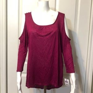 NWT NYCollection S Pink Cold Shoulder stretch top